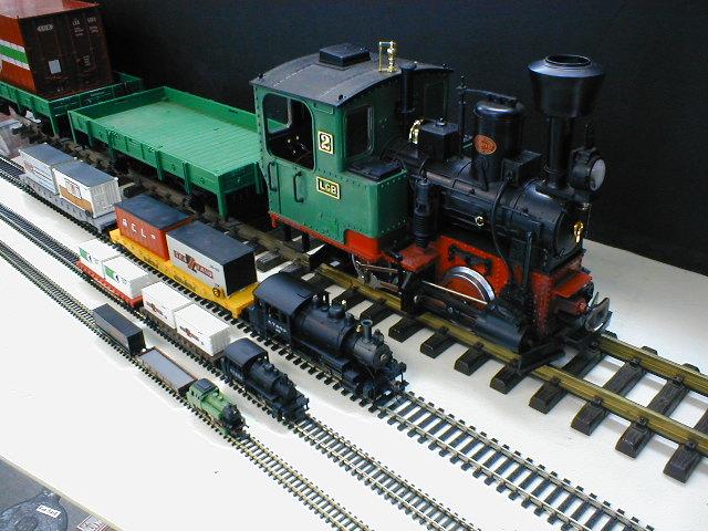 Mudelrongide mõõtkavad vasakult paremale: Z, N, H0 ja G
